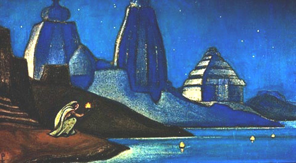 Н.К. Рерих. Огни на Ганге (Пламя счастья). 1947. Холст, темпера. Музей Востока