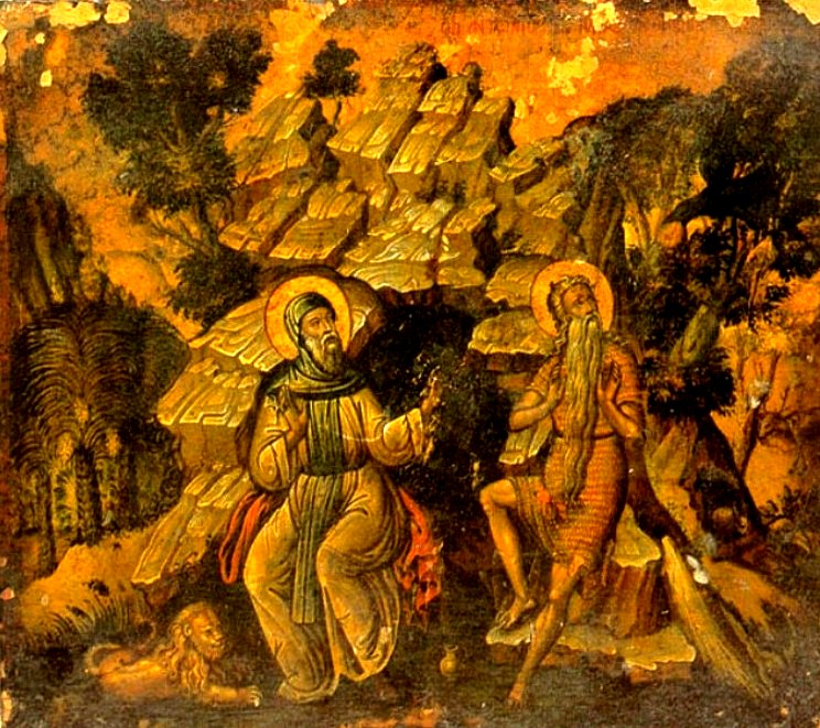 Преподобные Антоний Великий и Павел Фивейский в пещере