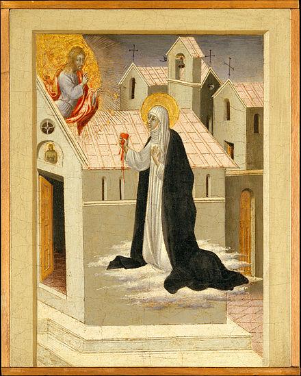 Джованни ди Паоло. Святая Екатерина Сиенская, меняющаяся сердцами с Иисусом Христом