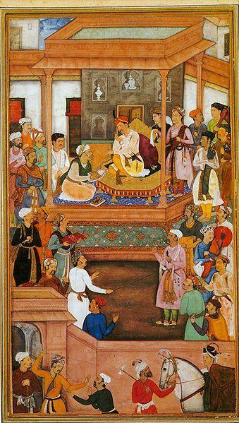Абу-аль-Фазиль преподносит императору Акбару книгу «Акбарнаме». Миниатюра. «Акбарнаме» 1596—1597 гг.