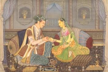 Акбар с женой Джодой, миниатюра 16-го века.