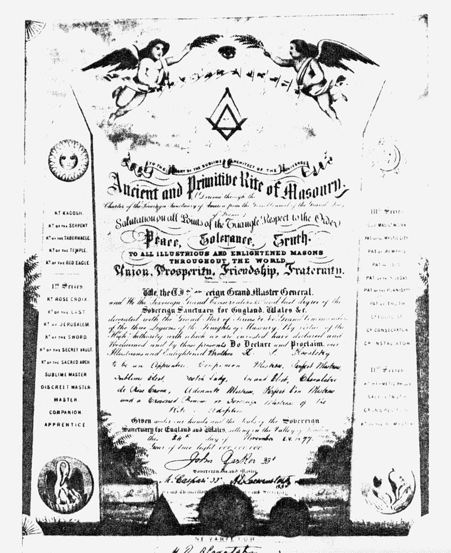 Почетный диплом, выданный Е. Блаватской масонами. По публикации в собр. соч. Б. Циркова