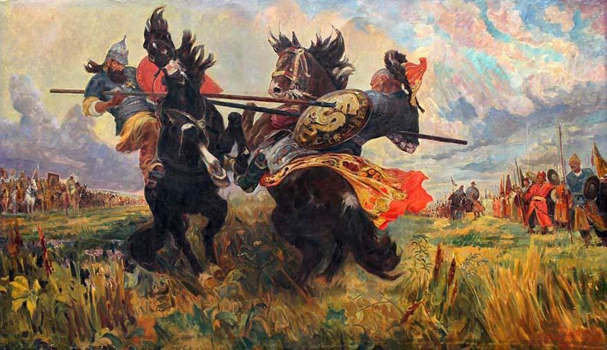 Картинки по запросу М. Авилов «Поединок Пересвета с Челубеем»