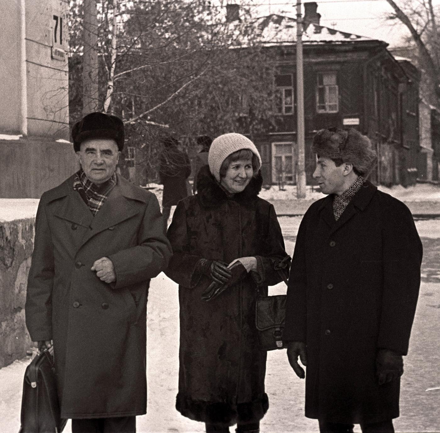 П. Ф. Беликов, Э. В. Паршина, Г. Г. Гаврилов после премьеры фильма