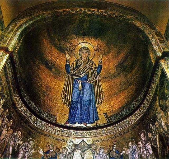 «Богоматерь Оранта Стена Нерушимая» Мозаика над главным Алтарем в Соборе Софии Киевской