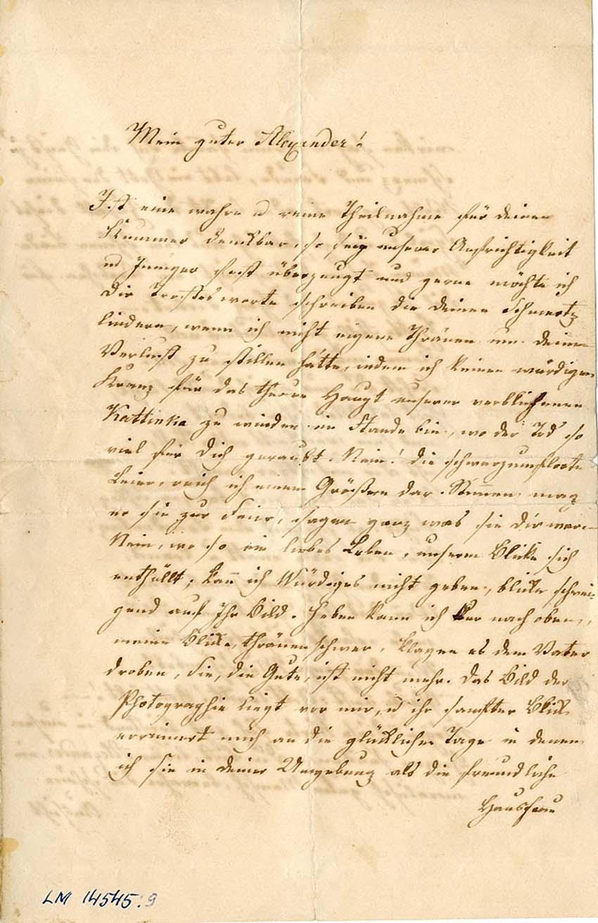 Письмо Фридриха Рериха (деда Н.К.Рериха) к племяннику Александру (на немецком, 27.04.1867.)  (Архив Лиепайского Музея, LM 14545:9)
