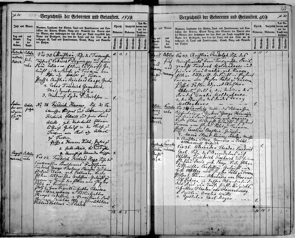 Запись в приходской книге Тукумса о рождении  Матильды Рерих 25 февраля 1853 г. (на немецком, левая страница, в середине)  (Государственный исторический архив Латвии, фонд 235 - опись 6 (снимок 20))
