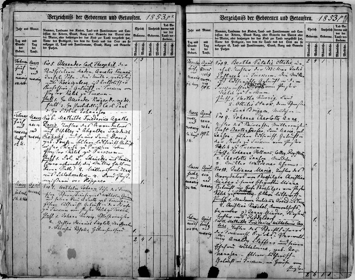 апись в приходской книге Тукумса о рождении  Александра Рериха 7 сентября 1854 г. (на немецком, правая страница, внизу)  (Государственный исторический архив Латвии, фонд 235 - опись 6 (снимок 27))