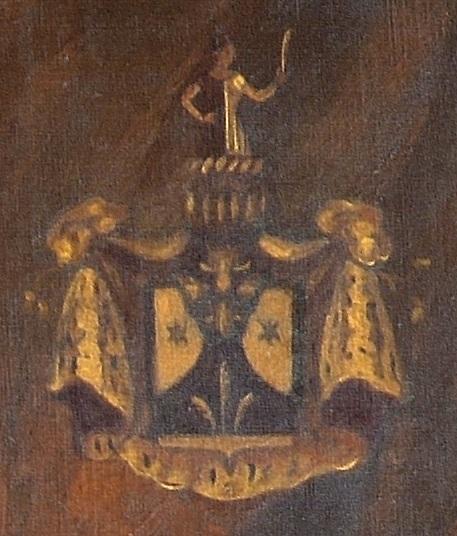 Герб рода Рерихов из одного портрета Н.К.Рериха в исполнении С.Н.Рериха (1936 г.)