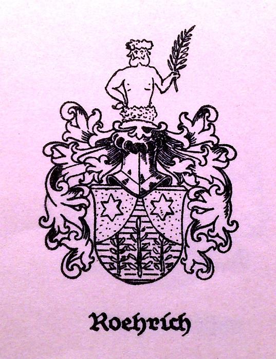 Герб рода Рерихов, напечатанный в книге гербов прибалтийских стран в 1931 году. Герб для книги взят из документа, в котором указан Александр Рерих в 1850 году из Либавы (Лиепаи).