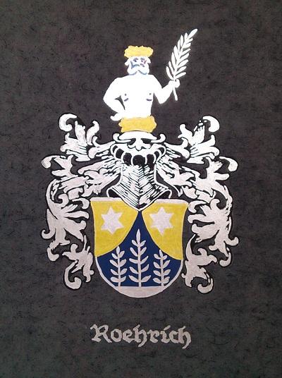 Герб рода Рерихов, раскрашенный по правилам,  указанным в книге гербов.