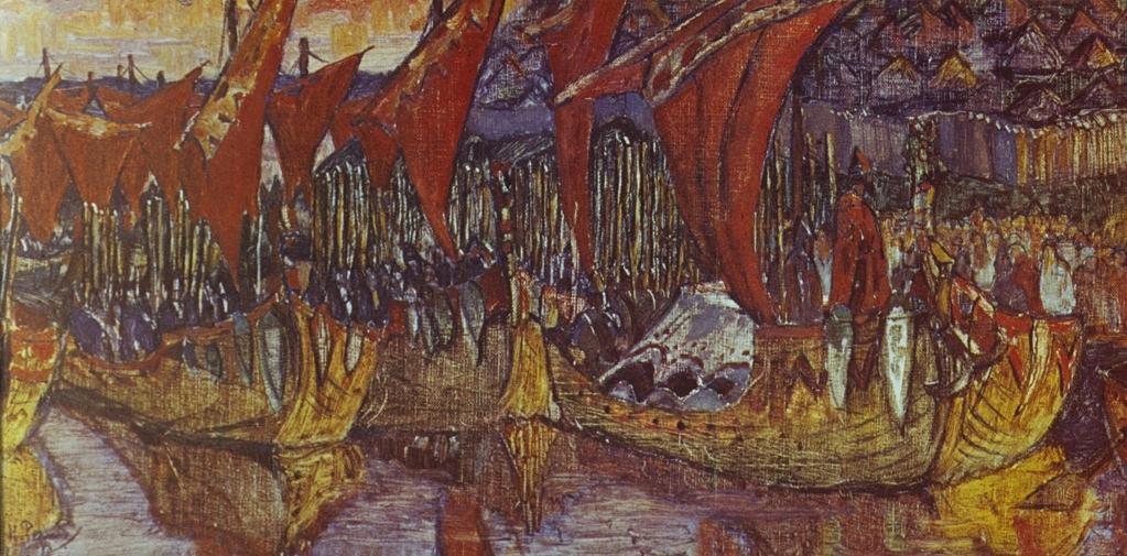 Н.К. Рерих. Красные паруса. Поход Владимира на Корсунь. 1900