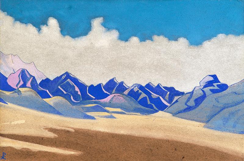 Каракорум. Путь на Туркестан. 1936 г. Картон, темпера. 30,5х45,8  Музей Николая Рериха. Нью-Йорк, США