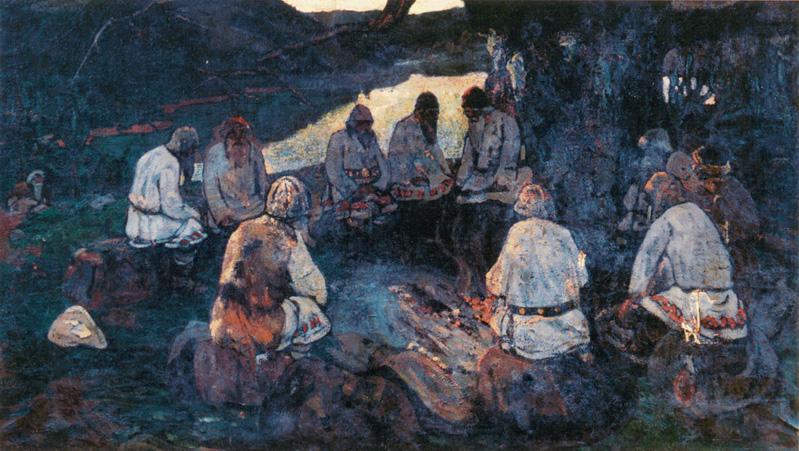 Н.К. Рерих. Сходятся старцы (эскиз к одноименной Картине). 1898-1902