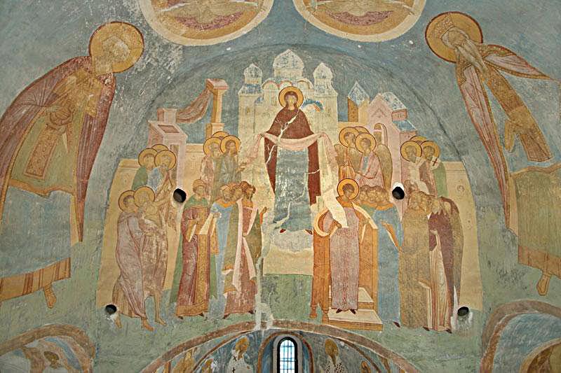 Изображение чудесного явления Богоматери во Влахернской церкви.