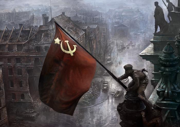 Водружение Красного знамени над Рейхстагом 2.мая 1945.