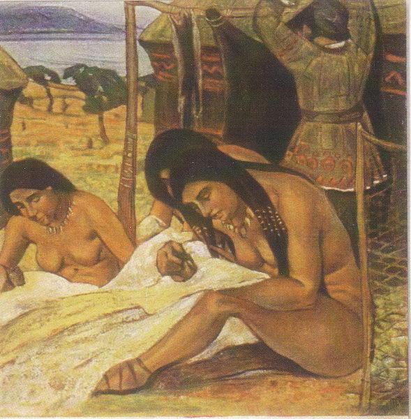 Н.К. Рерих. Задумывают одежду (Каменный век). 1908