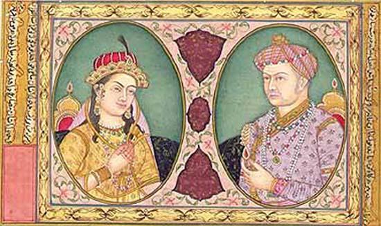 Акбар с женой Джодой, миниатюра 16-го века