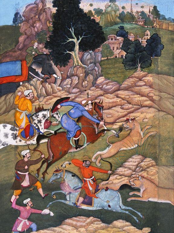 Охота Акбара на львов, миниатюра 16в.