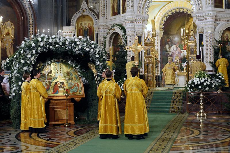 Первая Рождественская Литургия в Храме Христа Спасителя. 1999 год