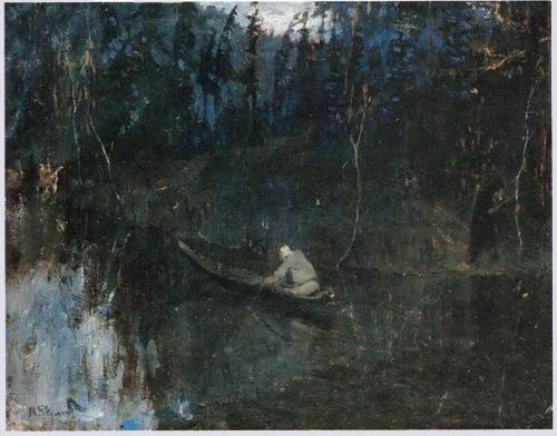 Н.К. Рерих. По реке. Гонец (эскиз). Около 1897