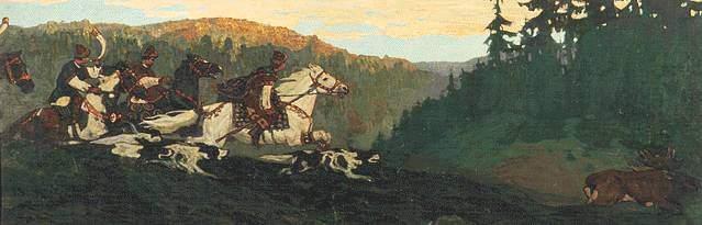 Н. К. Рерих. Княжая охота. Утро [Утро княжьей охоты]. 1901