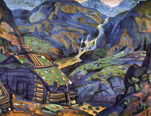 Н.К.Рерих. Мельница в горах. Эскиз декорации к драме Г.Ибсена «Пер Гюнт». 1912