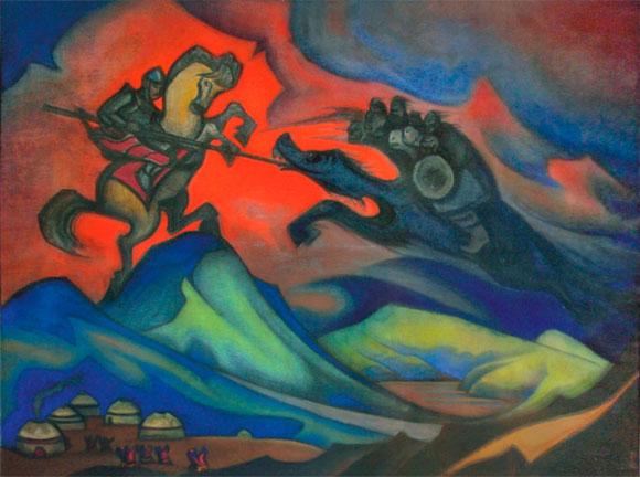 Н.К.Рерих. Бум-Эрдени (Монгольский героический эпос). 1947.  Из собрания Ю.Н.Рериха. Местонахождение неизвестно
