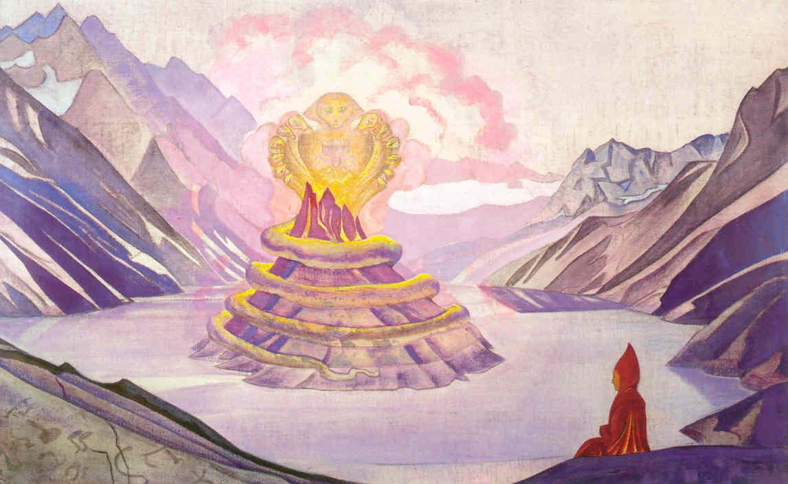 Н.К. Рерих. Нагарджуна — Победитель Змия. Серия «Знамёна Востока». 1925