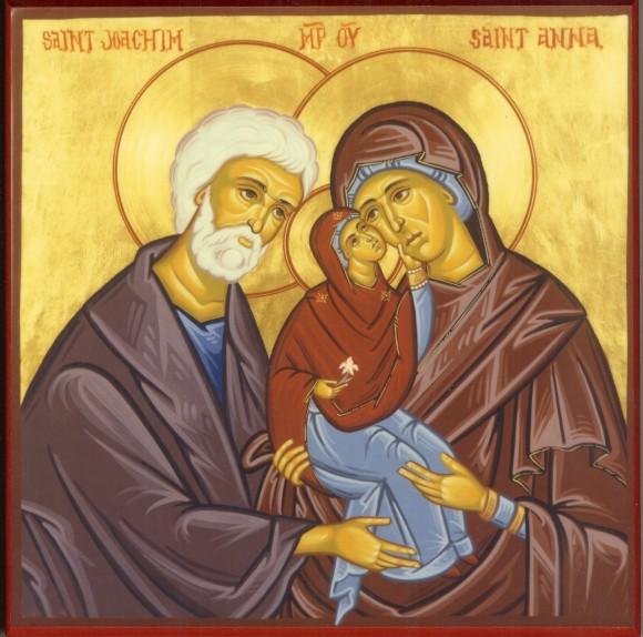 Святые Иоаким и Анна с младенцем Марией. Современная икона