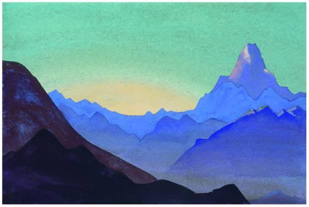 Н.К.Рерих. Гималаи. Рассвет.  1937