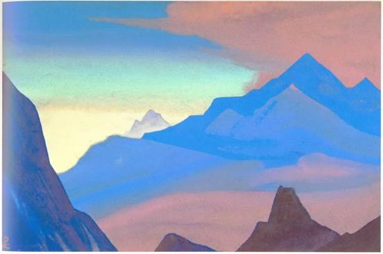 Н.К.Рерих. Гималаи (Рассвет в горах). 1938.  Из собрания Ю.Н.Рериха. Местонахождение неизвестно