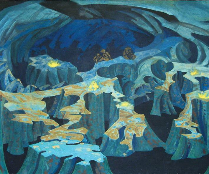 Н.К.Рерих. Царство троллей. Эскиз декорации к драме Г.Ибсена «Пер Гюнт». 1912