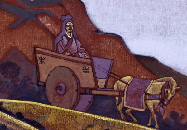 Н.К. Рерих. Конфуций Справедливый. Фрагмент. Серия «Знамёна Востока». 1925