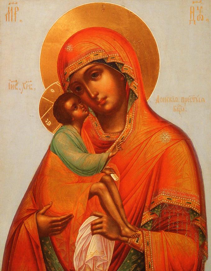 Богоматерь Донская (фрагмент иконы). XIX век