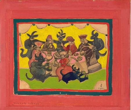 Н.К.Рерих. Пьяная гибель. Эскиз  плаката по борьбе с пьянством. 1931