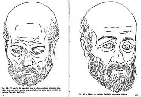 Рисунок-реконструкция черепа святого, сделанный итальянскими учёными.