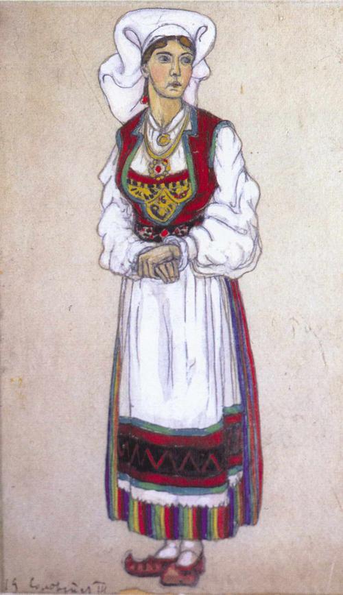 Н.К.Рерих. Сольвейг.  Эскиз костюма к драме Г.Ибсена «Пер Гюнт». 1912