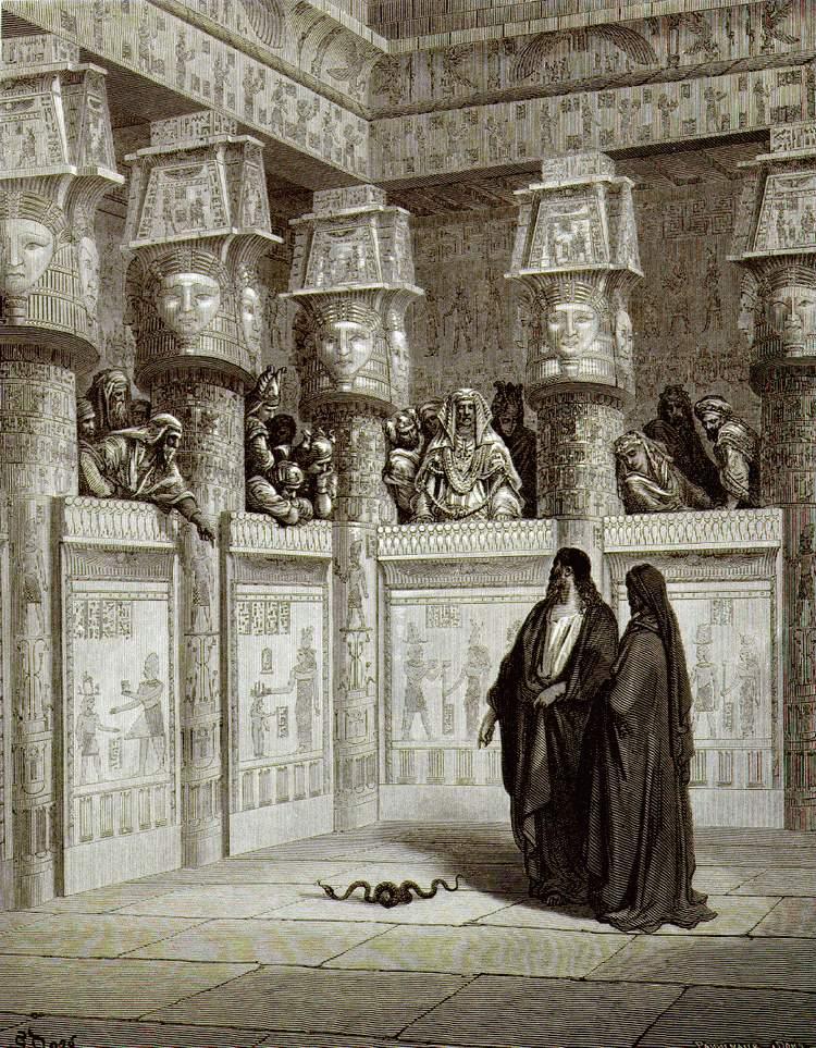 Гюстав Доре. Моисей и Аарон перед фараоном. 1864-1866