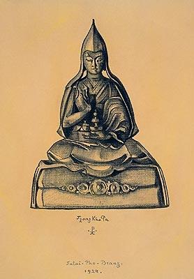Н.К.Рерих. Цзон Кха Па.( Tsong Kha Pa). Рисунок. 1924.