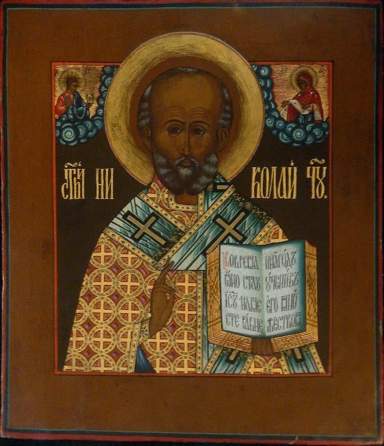 Сибирская икона Николая Чудотворца. 19 век.
