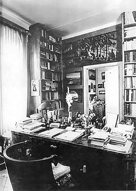 Кабинет Ю.Н.Рериха.  Москва, Ленинский проспект, 62. Конец 1950-х