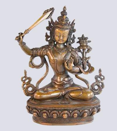 Бодхисаттва Манджушри,  огненным мечом поражающий тьму невежества. Бронза, XIX в. (?)