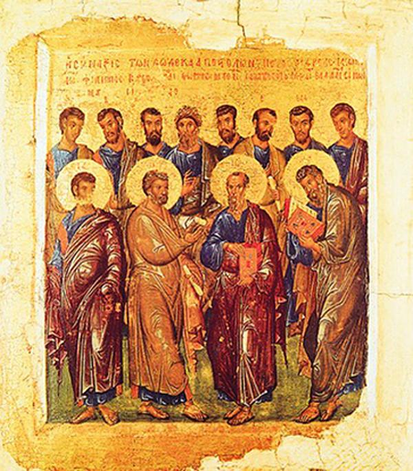 Собор 12 апостолов. Икона. 1-я четв. XIV в. (ГМИИ)