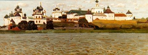 Н.К. Рерих. Ростов Великий. Вид Кремля с озера Неро. 1903.