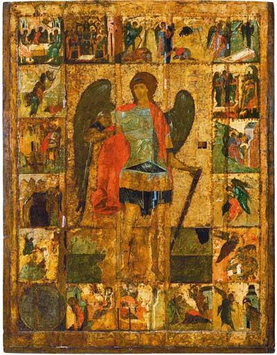 Архангел Михаил с деяниями.  Икона. XV в.  Архангельский собор Московского Кремля