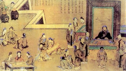 Конфуций с учениками. XVI в.