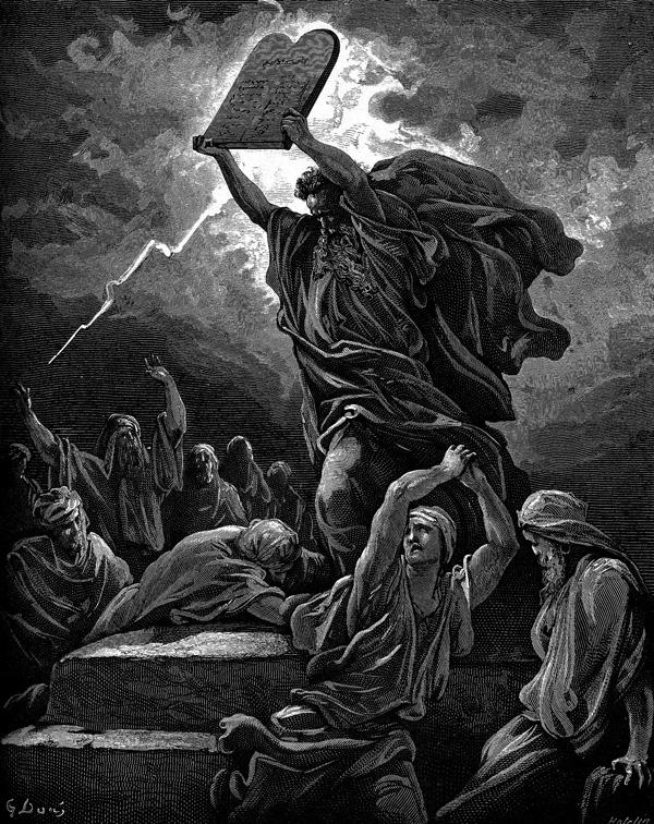 Гюстав Доре. Моисей разбивает Скрижали с Законом. 1864-1866