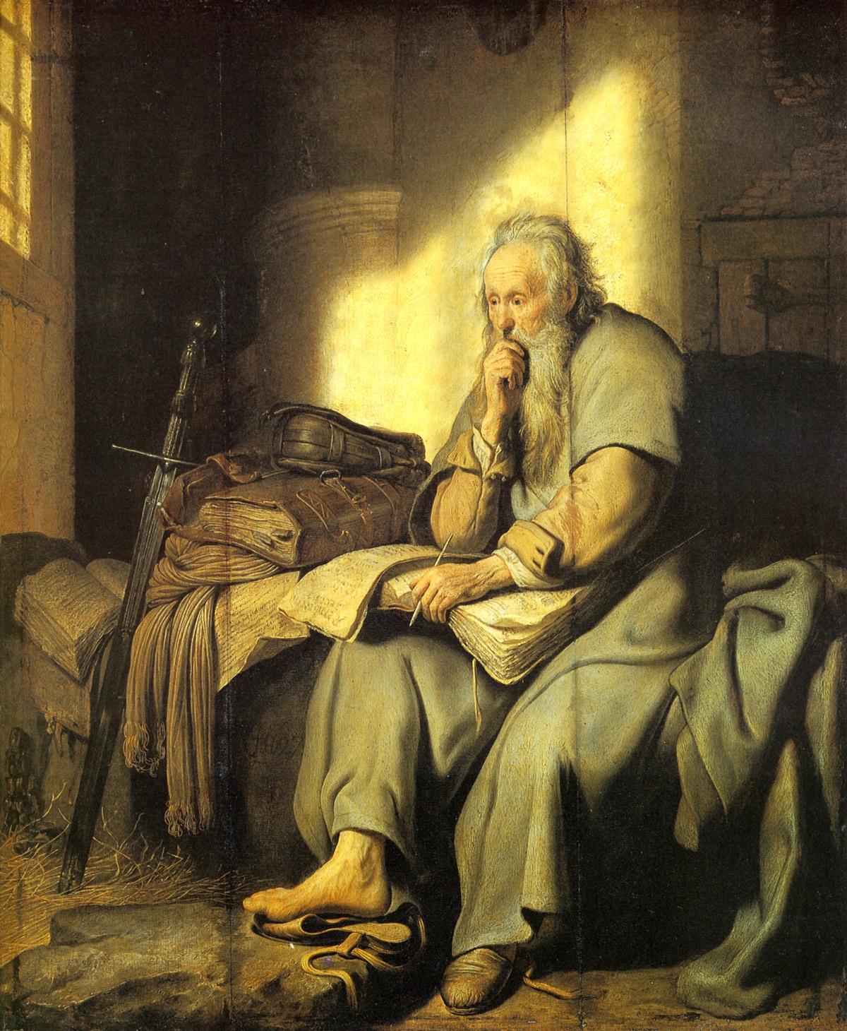 Рембрандт (1606-1669). Павел в раздумьях перед казнью