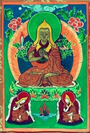 Цзонкапа с учениками. Танка. Тибет. XIX  в.